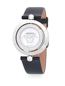 Versace Logo Stainless Steel Leather Strap Watch G