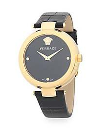 Versace Stainless Steel Leather Strap Watch BLACK