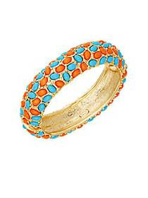 Kenneth Jay Lane Turquoise & Coral Hinged Bangle B