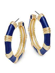 Kenneth Jay Lane Contrast Hoop Earrings LAPIS