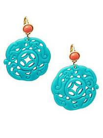 Kenneth Jay Lane Carved Drop Earrings TURQUOISE