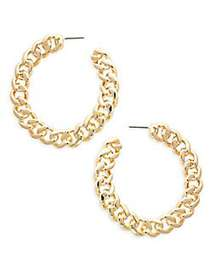 Kenneth Jay Lane Chain Link Hoop Earrings GOLD