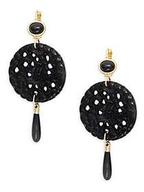 Kenneth Jay Lane Goldtone Carved Circle Drop Earri