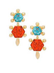 Kenneth Jay Lane Turquoise Statement Earrings GOLD