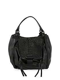 Kooba Basket Woven Leather Shopper Bag BLACK