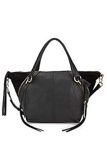 Vince Camuto Winged Leather & Suede Satchel BLACK