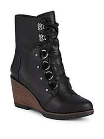 Sorel After Hours Pebbled Leather Stacked Wedge An