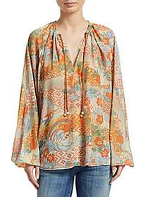 Elizabeth and James Chance Printed Silk Blouse MUL