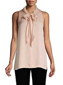 Theory Sleeveless Tie-Front Silk Top TART PINK