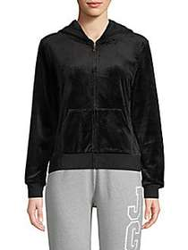 Juicy Couture Graphic Full-Zip Hoodie PITCH BLACK