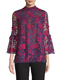 Anna Sui Flowers From A Fan Lace Blouse PURPLE