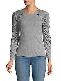 Rebecca Taylor Ruffled Long-Sleeve Jersey Top GREY