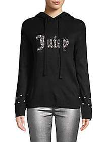 Juicy Couture Faux Pearl-Embellished Hoodie PITCH