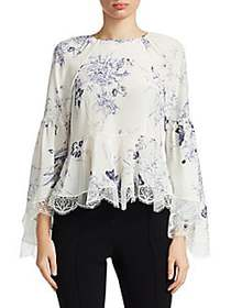 Elizabeth and James Inky Floral Avalon Silk Peplum