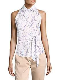 Max Mara Sleeveless Floral Blouse WHITE