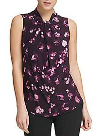 Donna Karan Twist-Neck Printed Top PURPLE MULTI