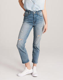 Ripped Ultra High Rise Ankle Straight Jeans, RIPPE