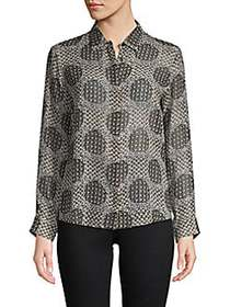 Max Mara Printed Silk Button-Down Shirt BLACK