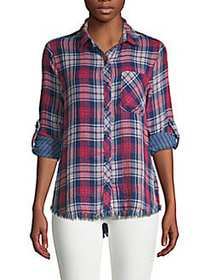 Beach Lunch Lounge Plaid Roll-Sleeve Button Down R