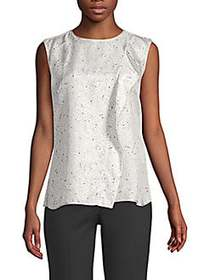 Max Mara Printed Sleeveless Silk Top WHITE