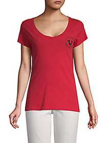 True Religion Crest V-Neck Cotton Tee RUBY RED