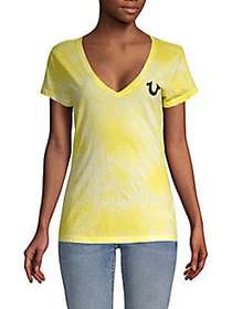 True Religion Tie-Dyed V-Neck Cotton Tee YELLOW