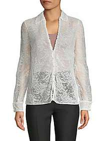 Valentino Lace Long-Sleeve Top LATTE