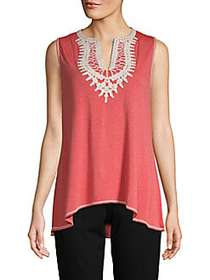 Max Studio Embroidered Sleeveless Top RED