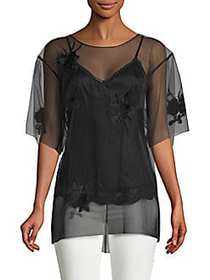 Helmut Lang Orchid Embroidered Top BLACK