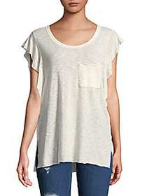 Free People So Easy Ruffle Tee IVORY