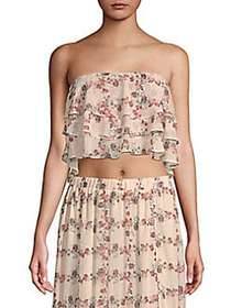 English Factory Floral Strapless Cropped Top BEIGE