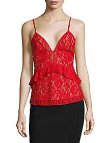 French Connection Lace Ruffle Top RED