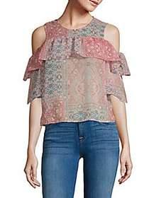 BCBGMAXAZRIA Printed Cold-Shoulder Top DUSTY ROSE