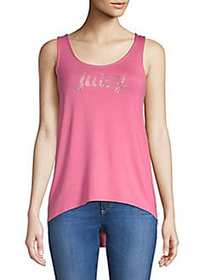 Juicy Couture Crystal Hi-Lo Tank Top SHOCKING PINK