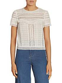 Alice + Olivia Belia Fringed Lace-Inset Top OFF WH