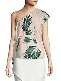 Scripted Palm-Print One Shoulder Ruffle Top MULTI