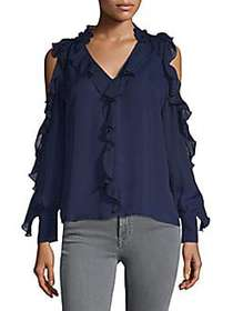 Parker Ruffle Cold-Shoulder Top NIGHT