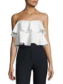 Rebecca Taylor Off-the-Shoulder Ruffle Top NAVY