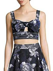 ABS Tie-Front Cropped Bustier Top MIDNIGHT BLUE