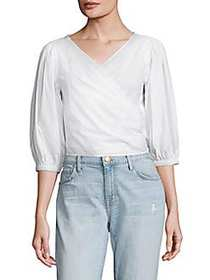Elizabeth and James Haven Poplin Cropped Top WHITE