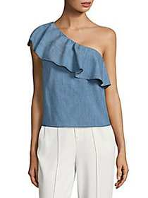 Alice + Olivia Calla Ruffled One-Shoulder Top LIGH