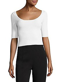 Elizabeth and James Maisy Textured Cropped Top WHI