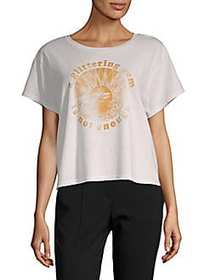 MOTHER Crop Goodie Official Cotton Tee DIRTY WHITE