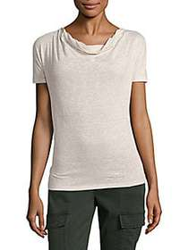 Max Mara Striped Cowlneck Top SAND