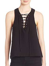 ROI Lace-Up Cotton Top BLACK
