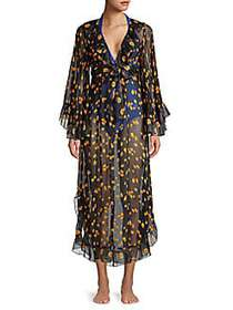 Anna Sui Silk Floral Print Wrap Cover-Up SUNSHINE