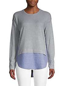 Design History Mixed-Media Roundneck Sweater GREY