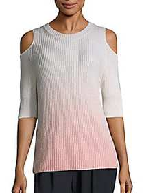 Zoë Jordan Dias Ombré Cold-Shoulder Sweater BLUSH