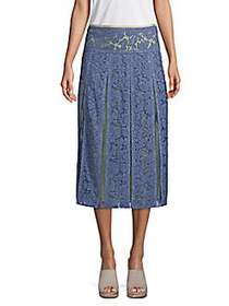 Valentino Silk Lace Midi Skirt BLUE