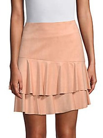BCBGMAXAZRIA Tiered Mini Skirt PINK SAND